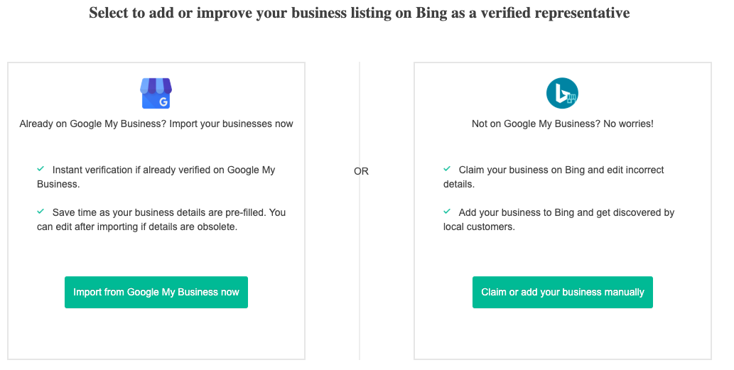Import your businesses from Google My Business to Bing Places