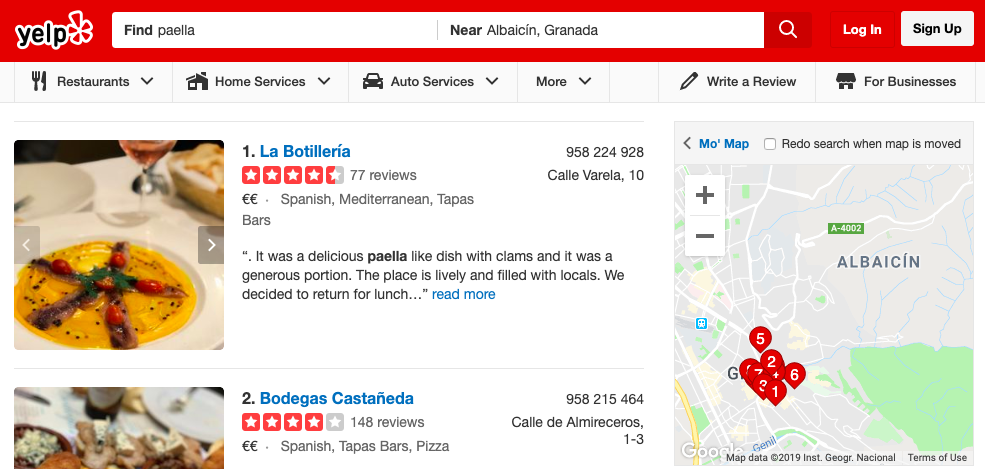 Yelp Local Businesses Span