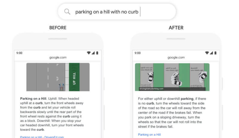 Screenshot showing before and after effects of BERT update for query parking on a hill with no curb