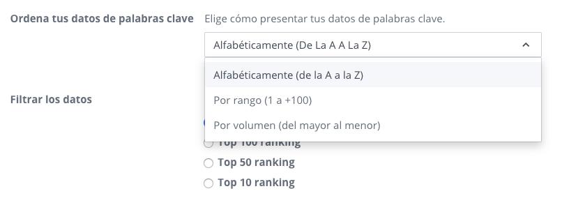 Opciones para ordenar datos de palabras clave en WooRank