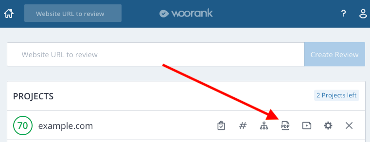 Downloading PDF reports from WooRank Overview page