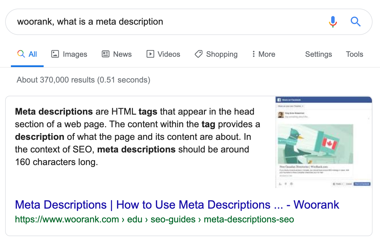 Google Search Result for Meta Descriptions