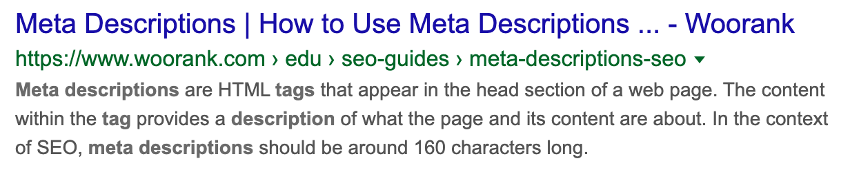 Example of a meta description in Google Search Results