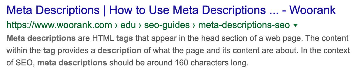 Example of a meta description in Google Search Results
