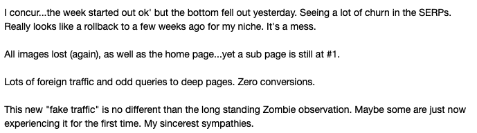 Webmaster reaction to November update 2