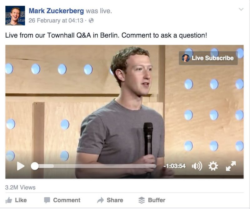 Mark Zuckerberg on Facebook Live