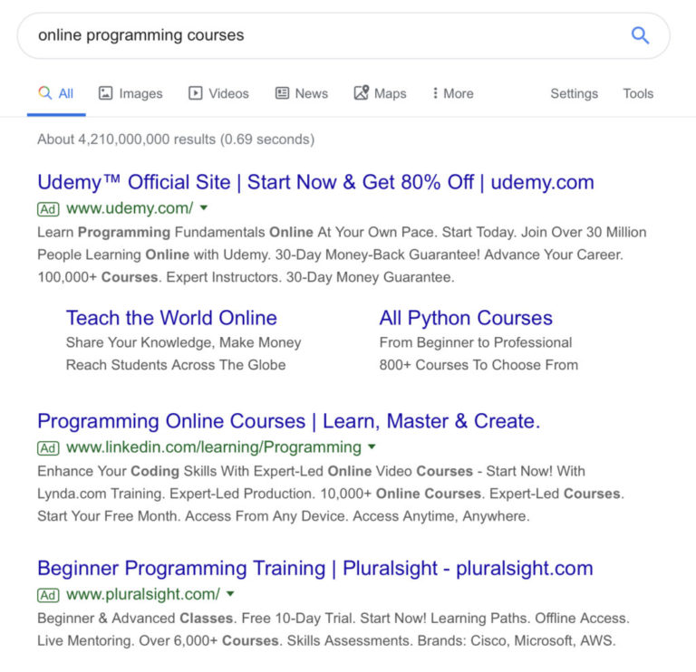 Google Search results without favicons