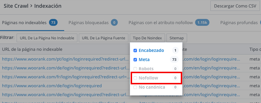 enlaces Nofollow en Site Crawl