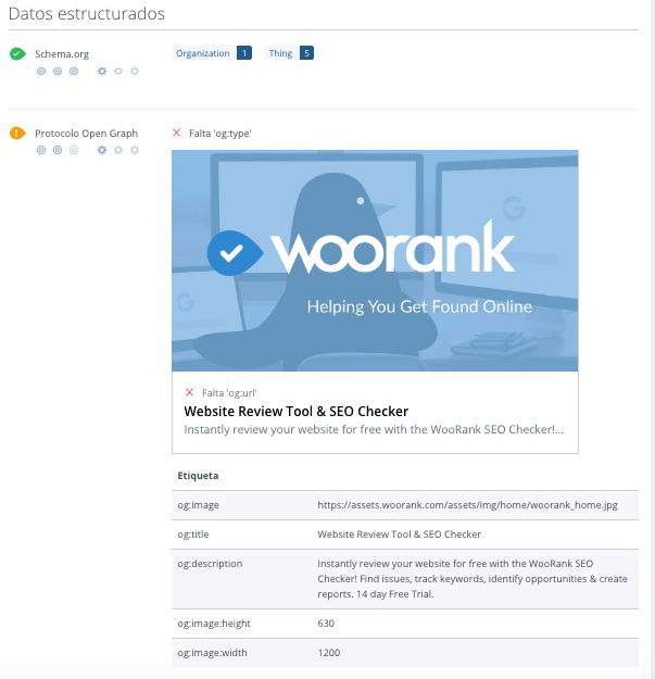 datos estructurados en WooRank
