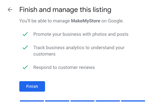 Finalize your Google My Business Listing
