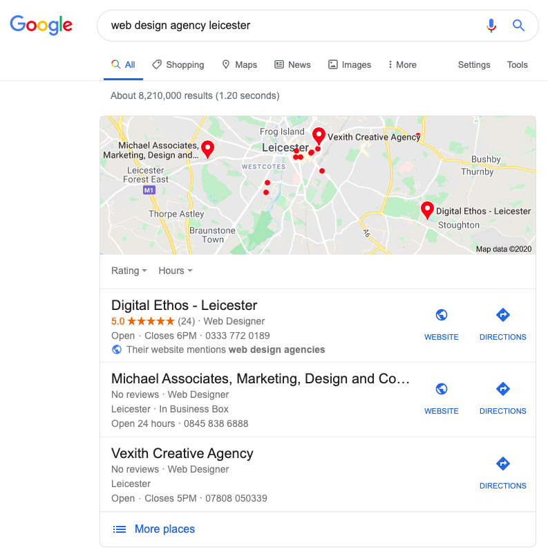 Google My Business in Map Pack results