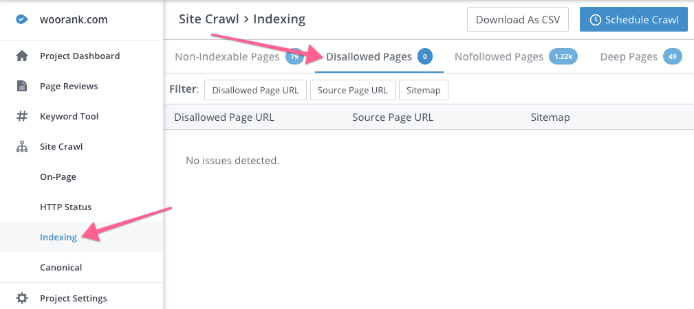 Pages disallowed by robots.txt in WooRank Site Crawl