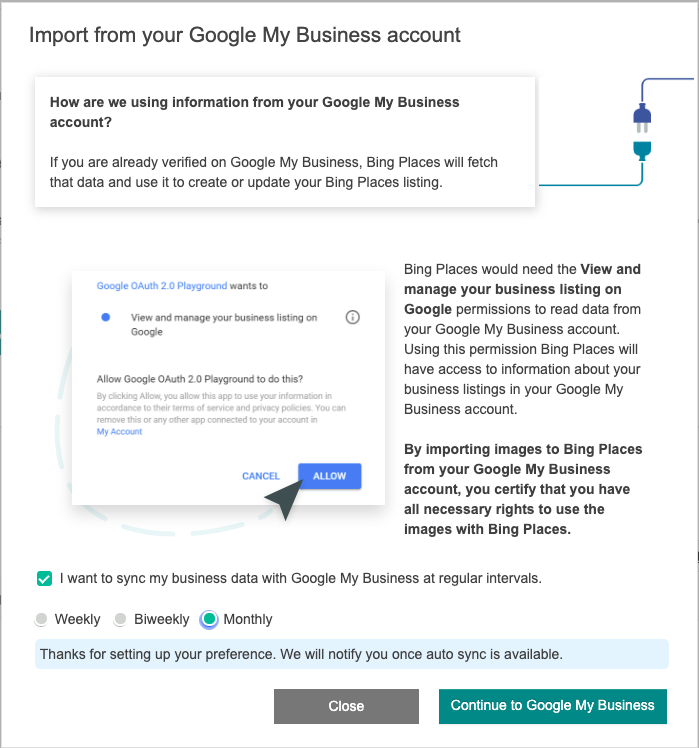 Sync Bing Places with Google My Business