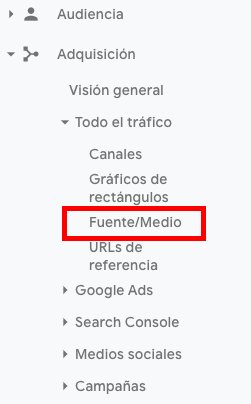 informe de adquisición en Google Analytics