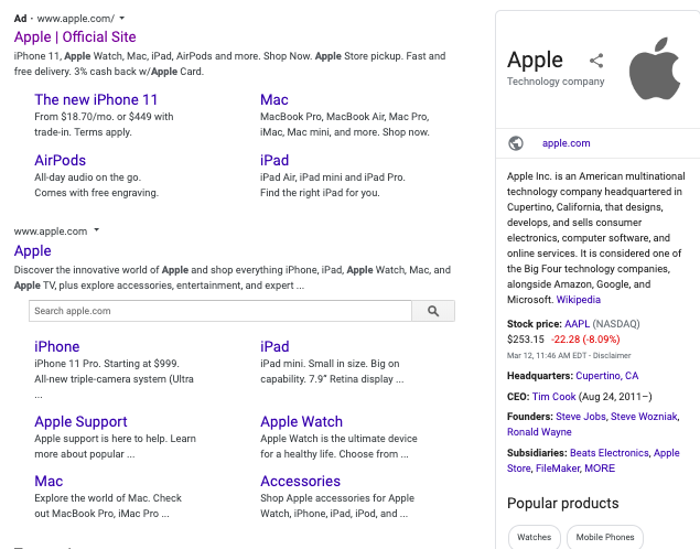 Brand SERP for Apple above the fold