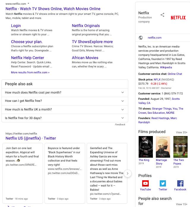 Brand SERP for Netflix