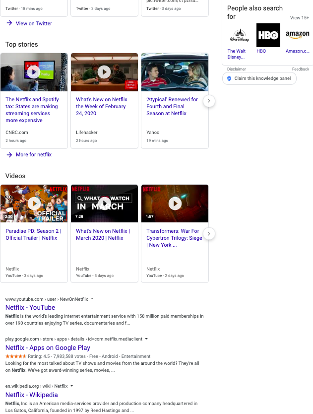 Below the fold Brand SERP for Netflix