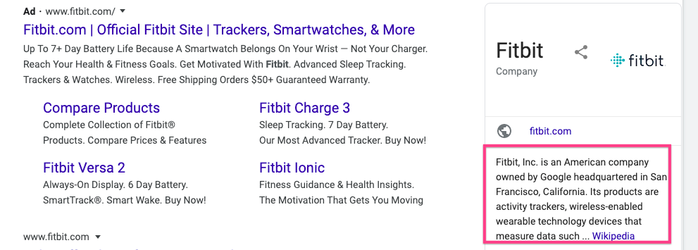 Google uses FitBit's Wikipedia page for the Knowledge Graph