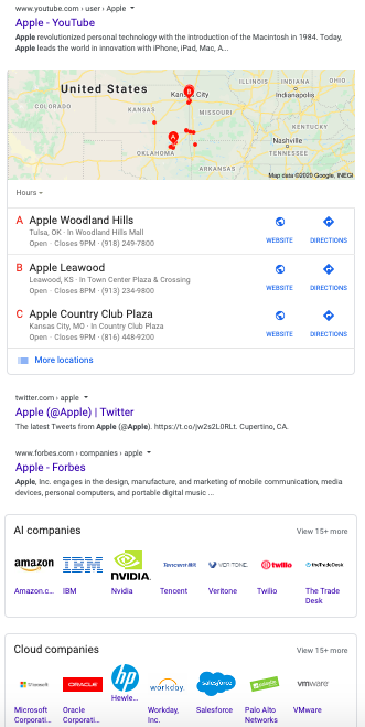 Brand SERP for Apple with local results
