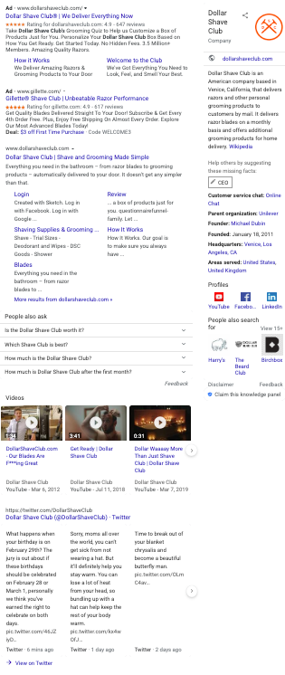 Dollar Shave Club branded SERP