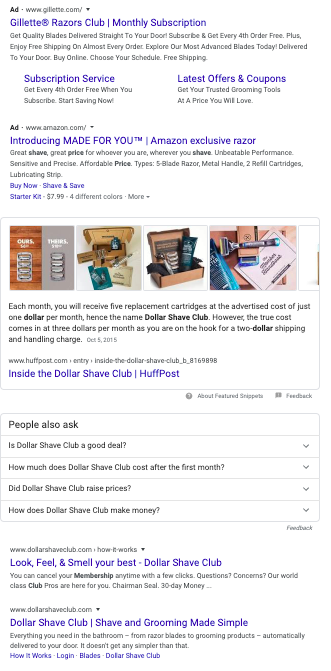SERP for Dollar Shave Club prices