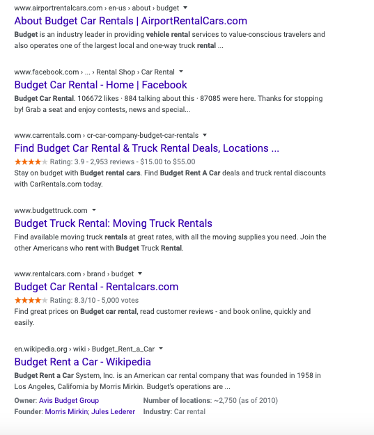 Bottom third of Budget Rent a Car Brand serp