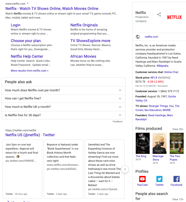 Netflix Brand Search Engine Results Page