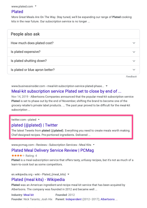 Brand SERP for Plated without a Twitter carousel