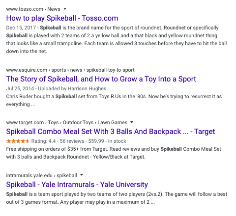 Last results for Spikeball Brand SERP