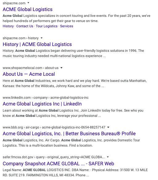 Brand SERP for Acme Global Logistics