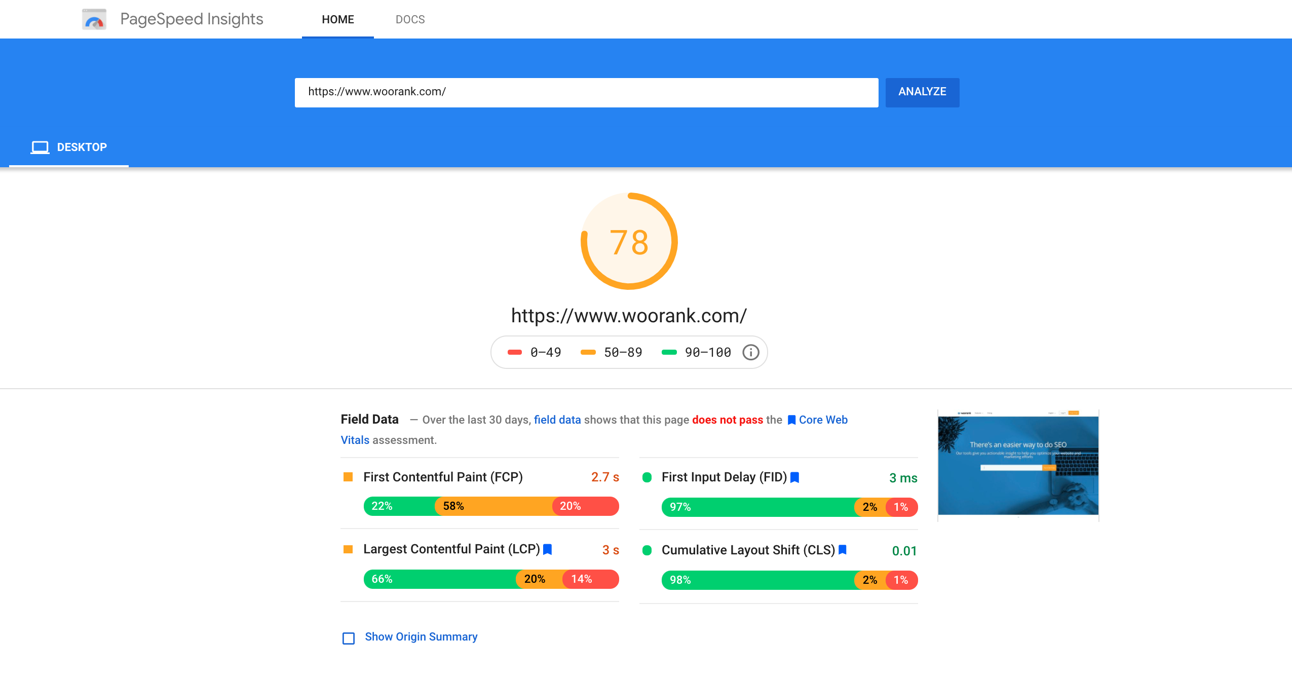Google Page Speed insights for WooRank
