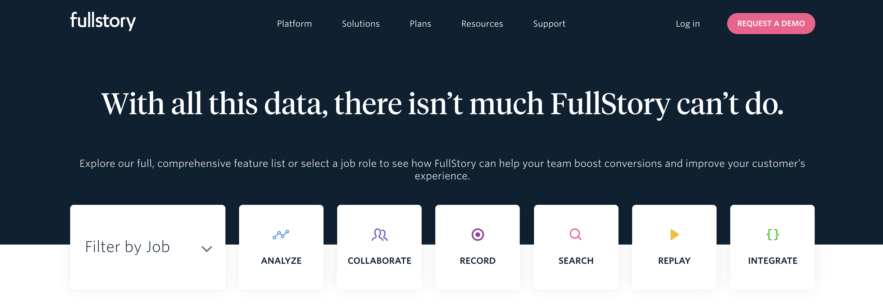 FullStory usability testing tool