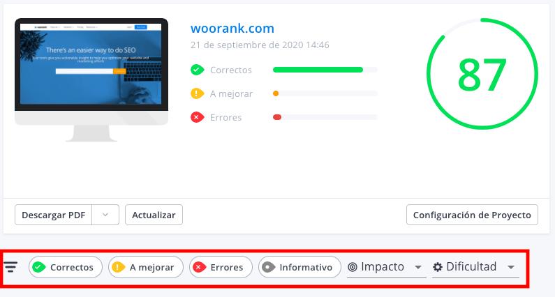 Filtros de resultados informes de WooRank