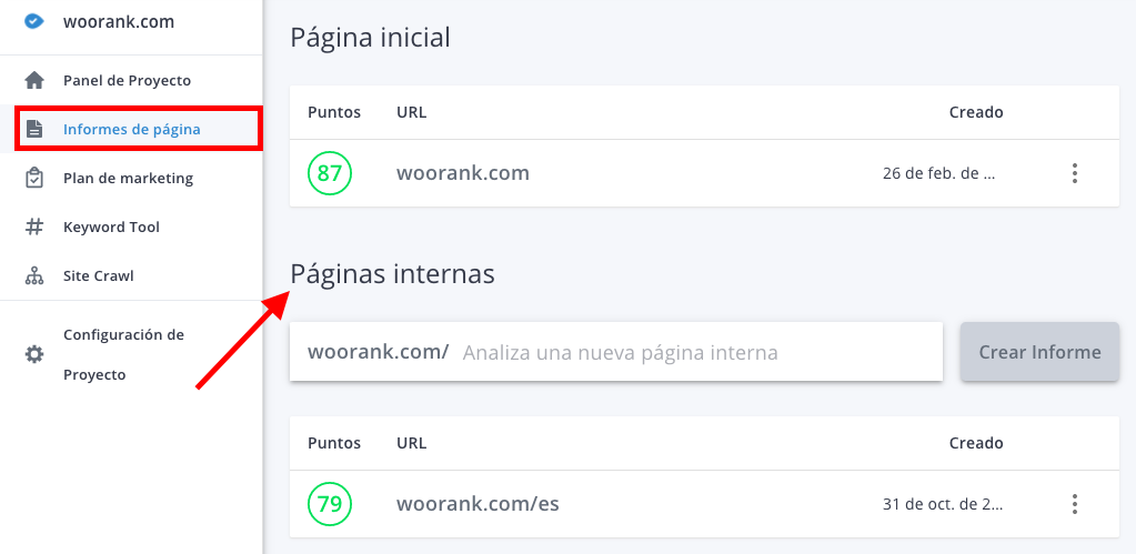 Informes de páginas internas de WooRank