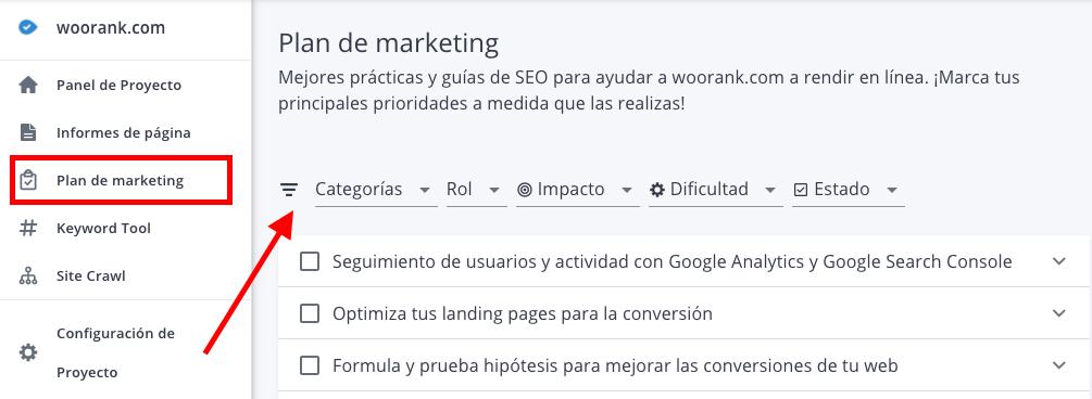 Plan de marketing de WooRank