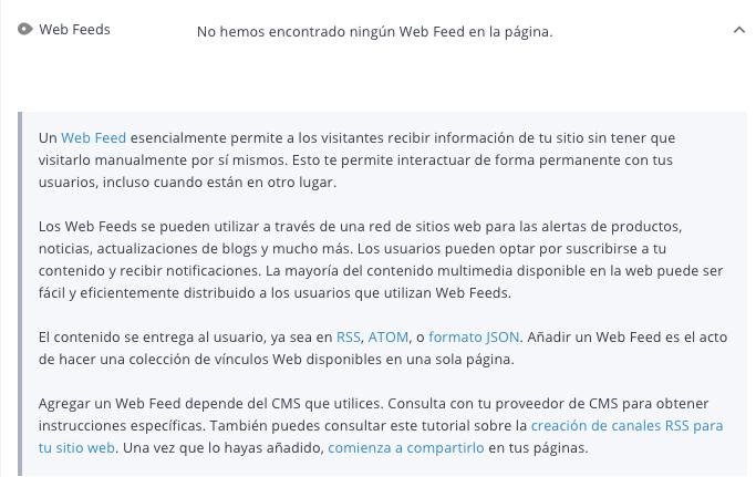 Criterio web feeds de WooRank
