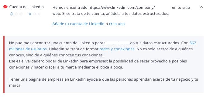 Criterio LinkedIn de WooRank
