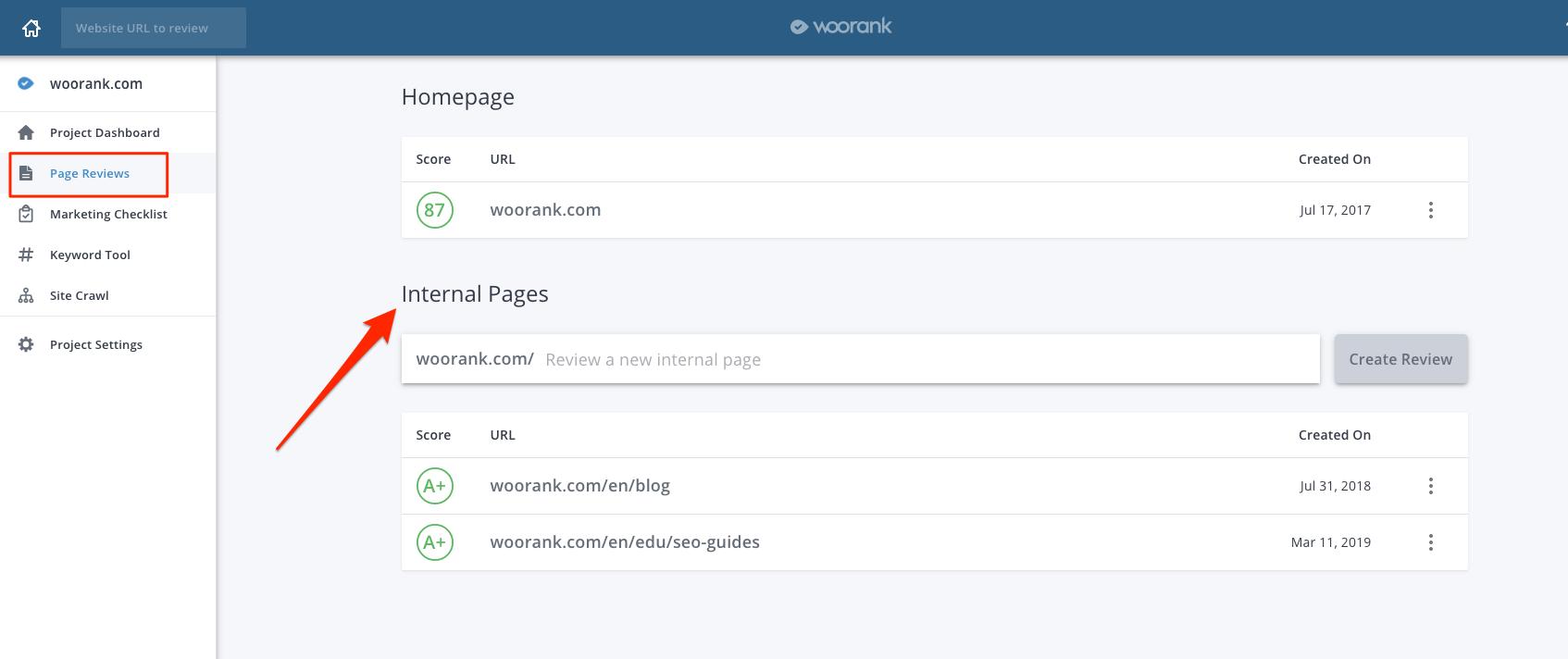WooRank Internal Page Reviews