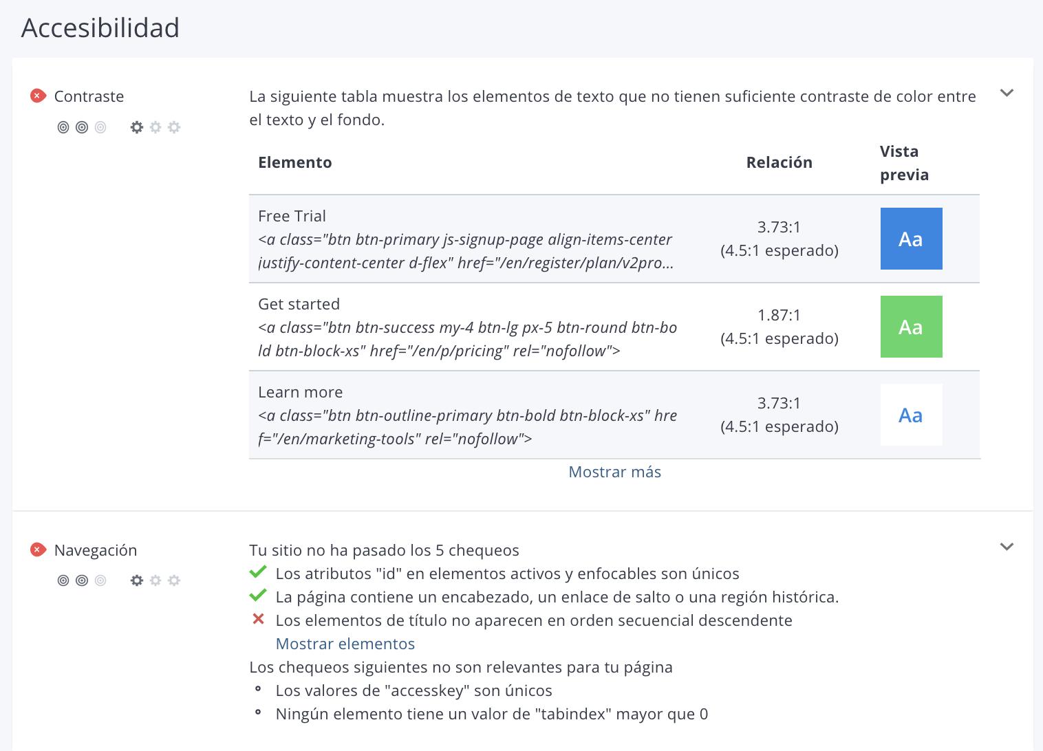 Sección de accesibilidad de WooRank en revisiones de sitios web