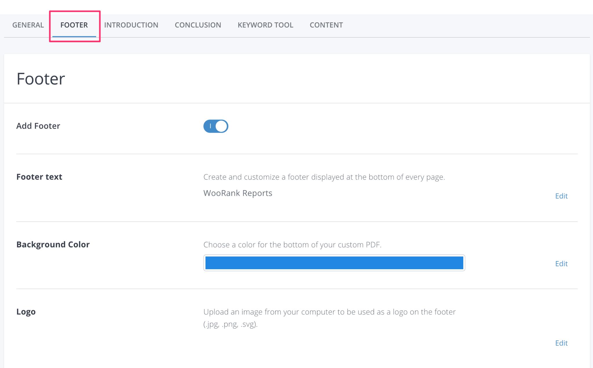 WooRank White-Label PDF Footer Customization