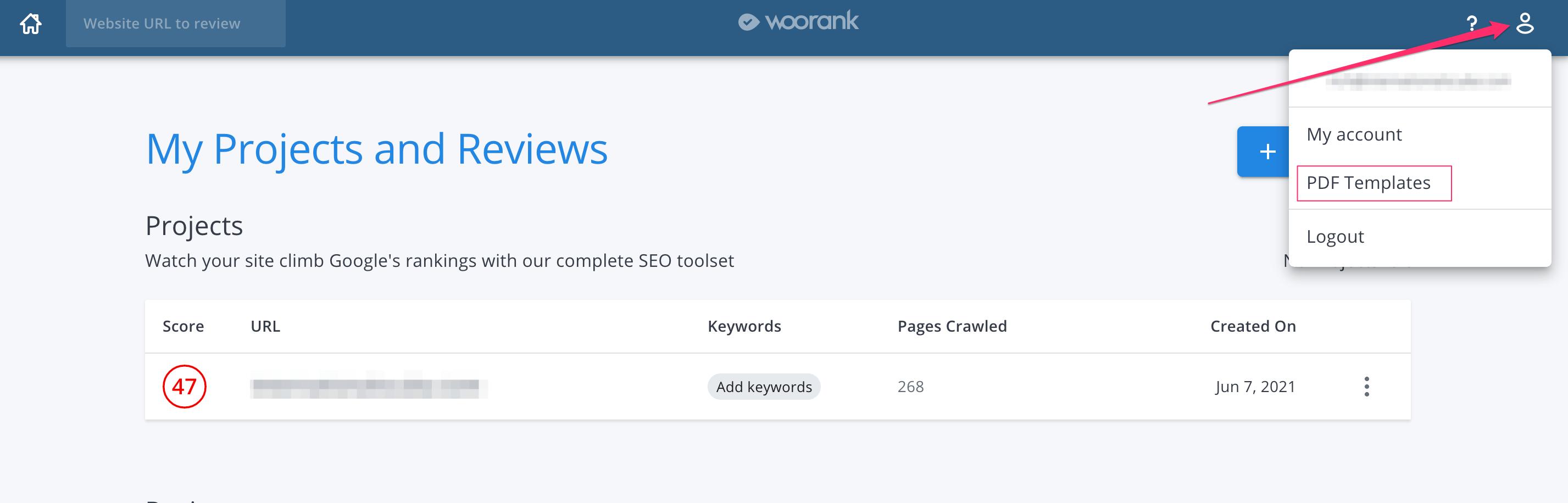 WooRank dashboard to access PDF Templates