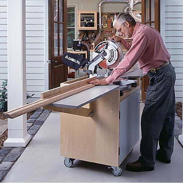 Mobile Mitersaw Center Woodworking Plan, Workshop & Jigs Tool Bases & Stands