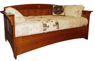 Arts and crafts mission day bed woodworking plan from wood for Arts and crafts bed plans