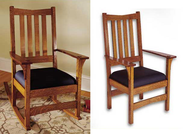 Two-In-One Arts and Crafts Chair/Rocker Woodworking Plan, Furniture Seating