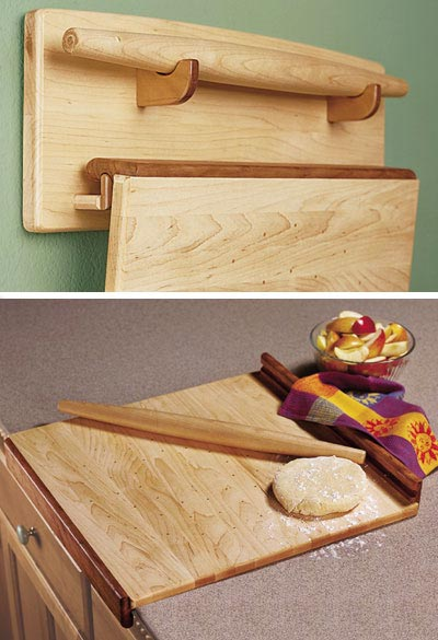 Baker's Trio - Pastry Board, Rolling Pin, & Wall Rack Woodworking Plan, Gifts & Decorations Kitchen Accessories