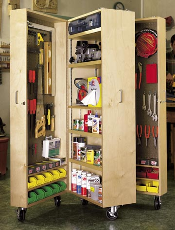 Mobile Tool Cabinet Woodworking Plan, Workshop & Jigs Shop Cabinets, Storage, & Organizers