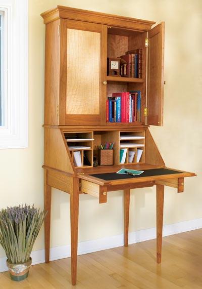 Slant-Front Secretary Woodworking Plan, Furniture Desks