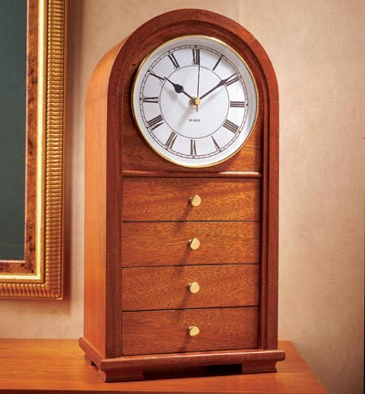 Arched-Top Clock With Drawers Woodworking Plan, Gifts & Decorations Clocks