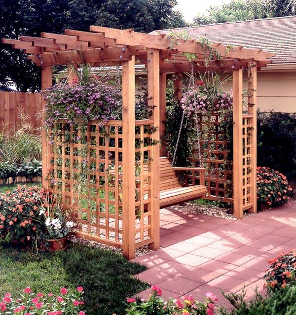 Garden arbor getaway woodworking plan from wood magazine for Garden getaway designs