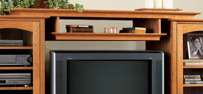 Entertainment center bridge and shelf Woodworking Plan, Furniture Entertainment Centers